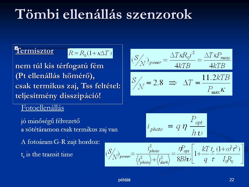 22példák Tömbi ellenállás szenzorok Tömbi ellenállás szenzorok Termisztor nem túl kis térfogatú fém (Pt ellenállás hőmérő), csak termikus zaj, Tss feltétel: teljesítmény disszipáció.