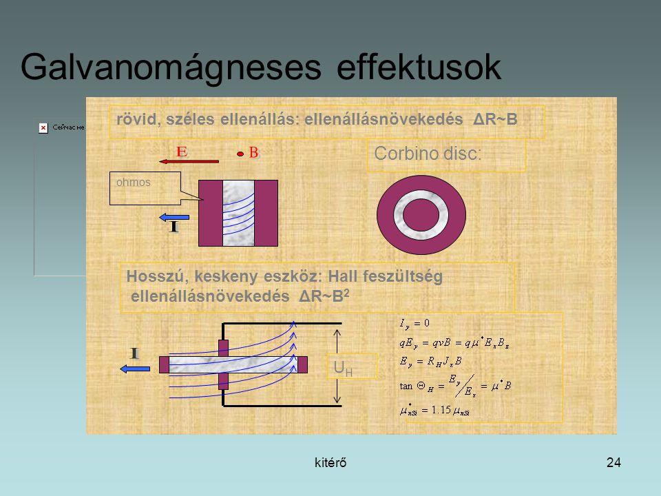 kitérő24 Galvanomágneses effektusok rövid, széles ellenállás: ellenállásnövekedés ΔR~B Corbino disc: ohmos Hosszú, keskeny eszköz: Hall feszültség ellenállásnövekedés ΔR~B 2 UHUH