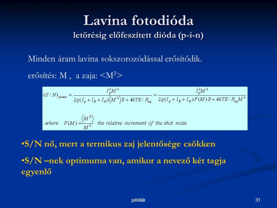 31példák Lavina fotodióda letörésig előfeszített dióda (p-i-n) Minden áram lavina sokszorozódással erősítődik.