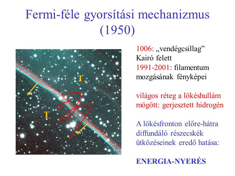 """Fermi-féle gyorsítási mechanizmus (1950) 1006: """"vendégcsillag"""" Kairó felett 1991-2001: filamentum mozgásának fényképei világos réteg a lökéshullám mög"""