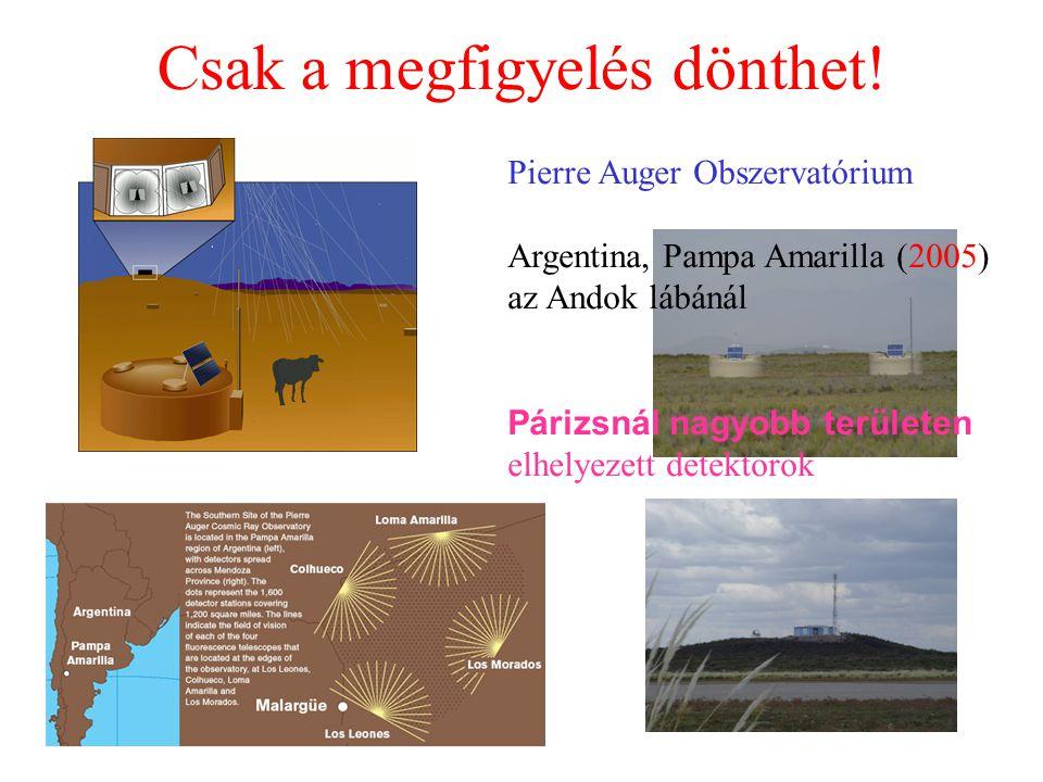 Csak a megfigyelés dönthet! Pierre Auger Obszervatórium Argentina, Pampa Amarilla (2005) az Andok lábánál Párizsnál nagyobb területen elhelyezett dete
