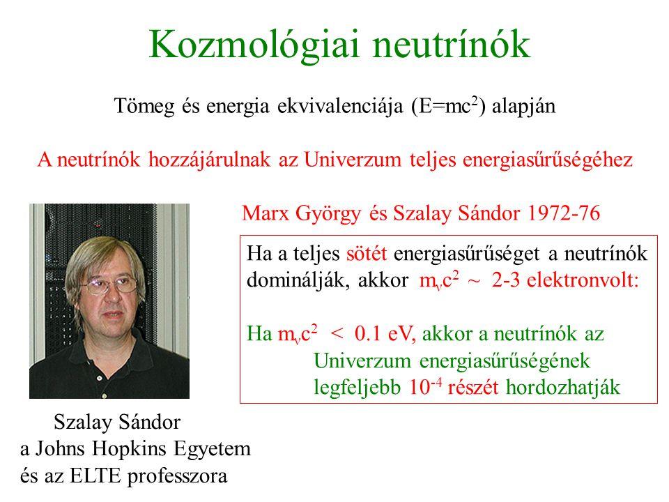 Kozmológiai neutrínók Tömeg és energia ekvivalenciája (E=mc 2 ) alapján A neutrínók hozzájárulnak az Univerzum teljes energiasűrűségéhez Marx György é