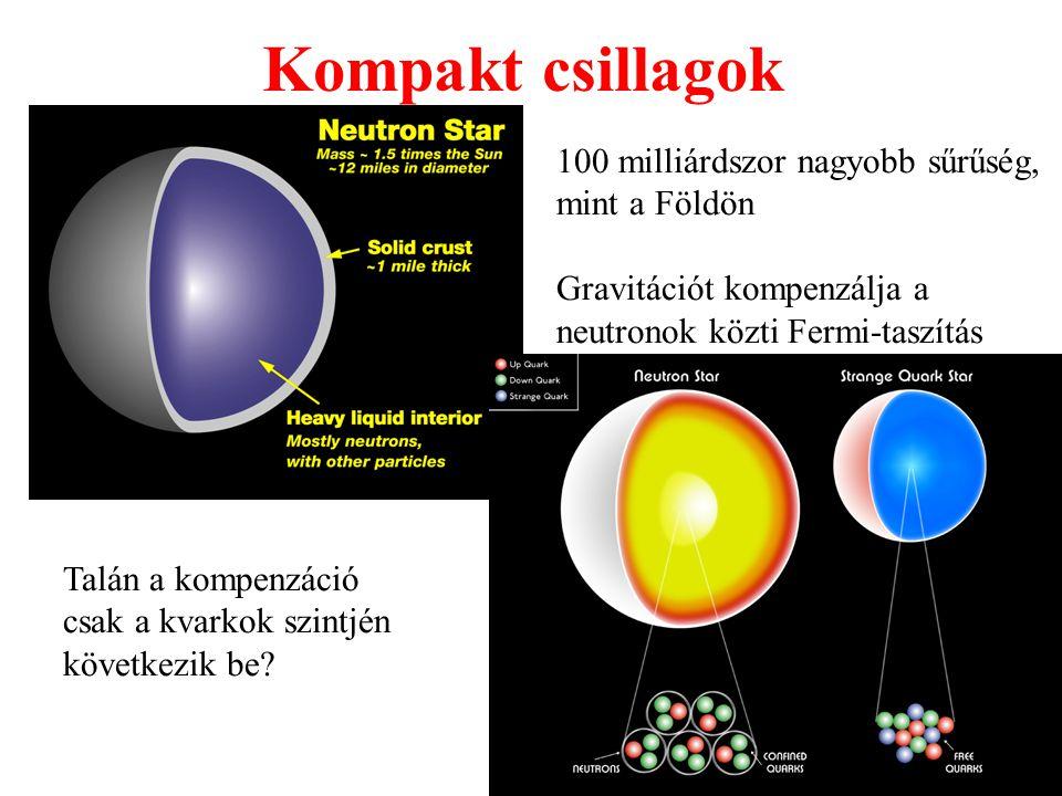 Kompakt csillagok 100 milliárdszor nagyobb sűrűség, mint a Földön Gravitációt kompenzálja a neutronok közti Fermi-taszítás Talán a kompenzáció csak a