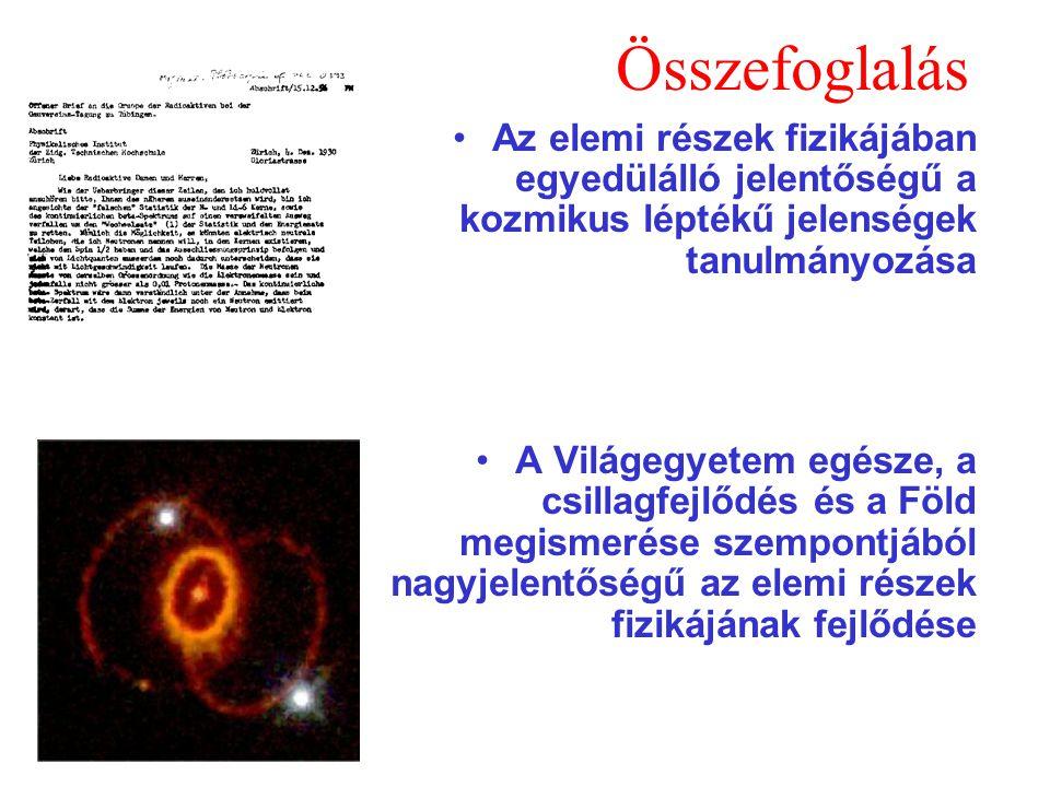 Összefoglalás Az elemi részek fizikájában egyedülálló jelentőségű a kozmikus léptékű jelenségek tanulmányozása A Világegyetem egésze, a csillagfejlődé