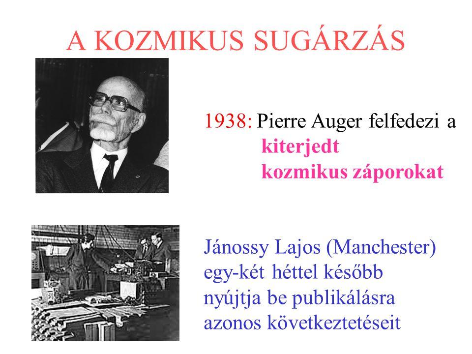 A KOZMIKUS SUGÁRZÁS 1938: Pierre Auger felfedezi a kiterjedt kozmikus záporokat Jánossy Lajos (Manchester) egy-két héttel később nyújtja be publikálás