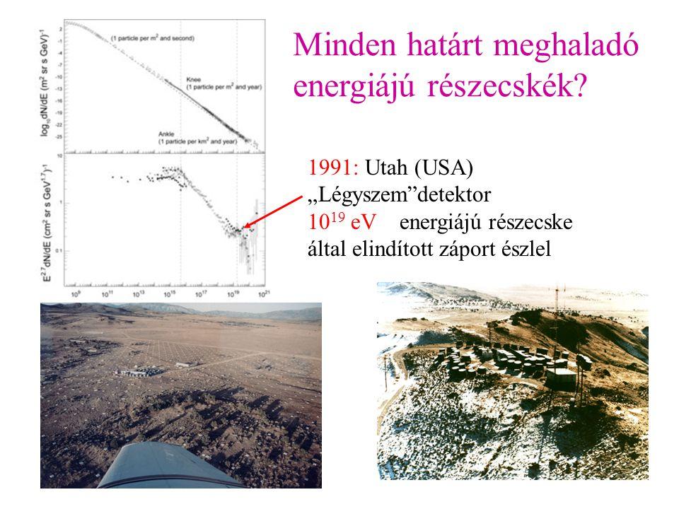 """Minden határt meghaladó energiájú részecskék? 1991: Utah (USA) """"Légyszem""""detektor 10 19 eV energiájú részecske által elindított záport észlel"""