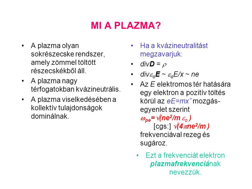 MI A PLAZMA? A plazma olyan sokrészecske rendszer, amely zömmel töltött részecskékből áll. A plazma nagy térfogatokban kvázineutrális. A plazma viselk