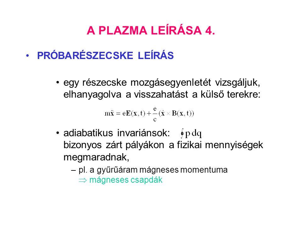 A PLAZMA LEÍRÁSA 4. PRÓBARÉSZECSKE LEÍRÁS egy részecske mozgásegyenletét vizsgáljuk, elhanyagolva a visszahatást a külső terekre: adiabatikus invarián