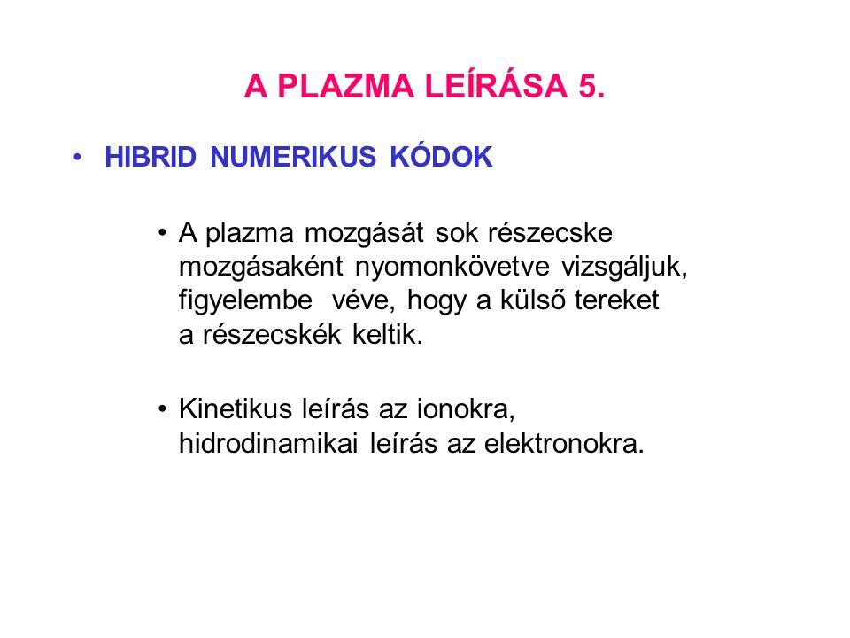 A PLAZMA LEÍRÁSA 5. HIBRID NUMERIKUS KÓDOK A plazma mozgását sok részecske mozgásaként nyomonkövetve vizsgáljuk, figyelembe véve, hogy a külső tereket