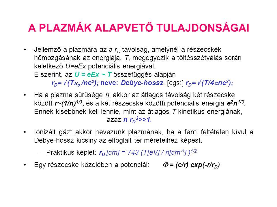 A PLAZMÁK ALAPVETŐ TULAJDONSÁGAI Jellemző a plazmára az a r D távolság, amelynél a részecskék hőmozgásának az energiája, T, megegyezik a töltésszétvál