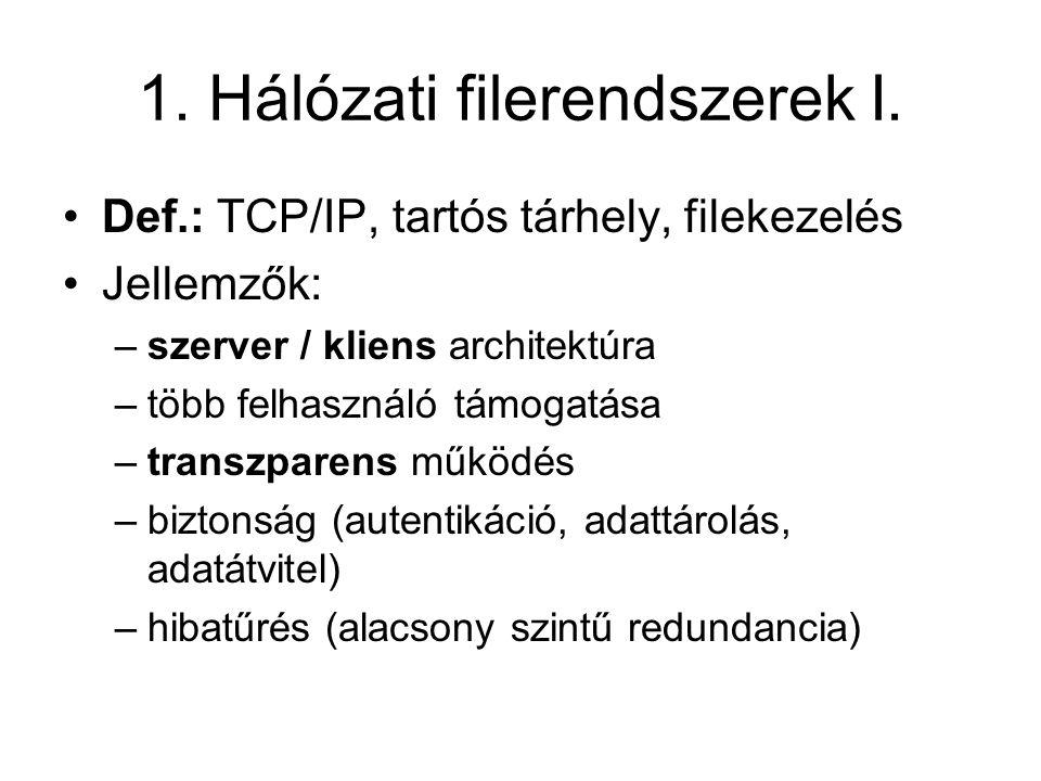 1.Hálózati filerendszerek I.