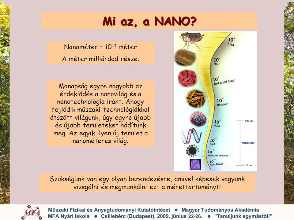 Mi az, a NANO? Szükségünk van egy olyan berendezésre, amivel képesek vagyunk vizsgálni és megmunkálni ezt a mérettartományt! Nanométer = 10 -9 méter A
