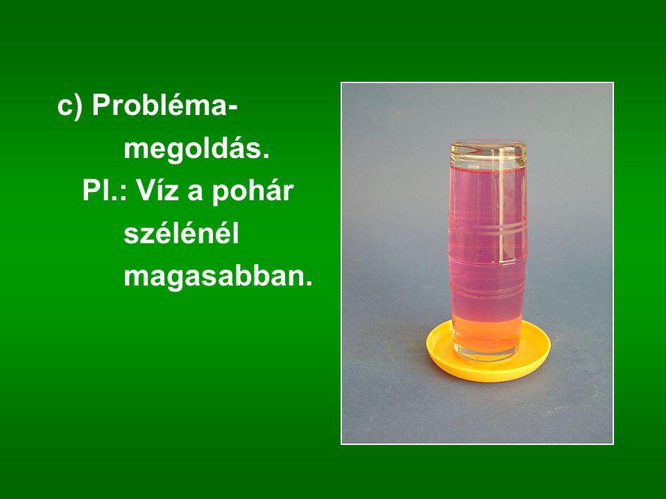 c) Probléma- megoldás. Pl.: Víz a pohár szélénél magasabban.