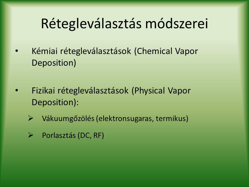 Rétegleválasztás módszerei Kémiai rétegleválasztások (Chemical Vapor Deposition) Fizikai rétegleválasztások (Physical Vapor Deposition):  Vákuumgőzöl