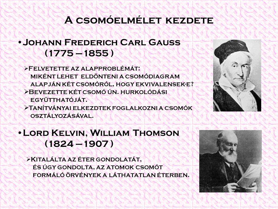 A csomóelmélet kezdete Johann Frederich Carl Gauss (1775 –1855 ) Lord Kelvin, William Thomson (1824 –1907 )  Felvetette az alapproblémát: miként lehet eldönteni a csomódiagram alapján két csomóról, hogy ekvivalensek-e.