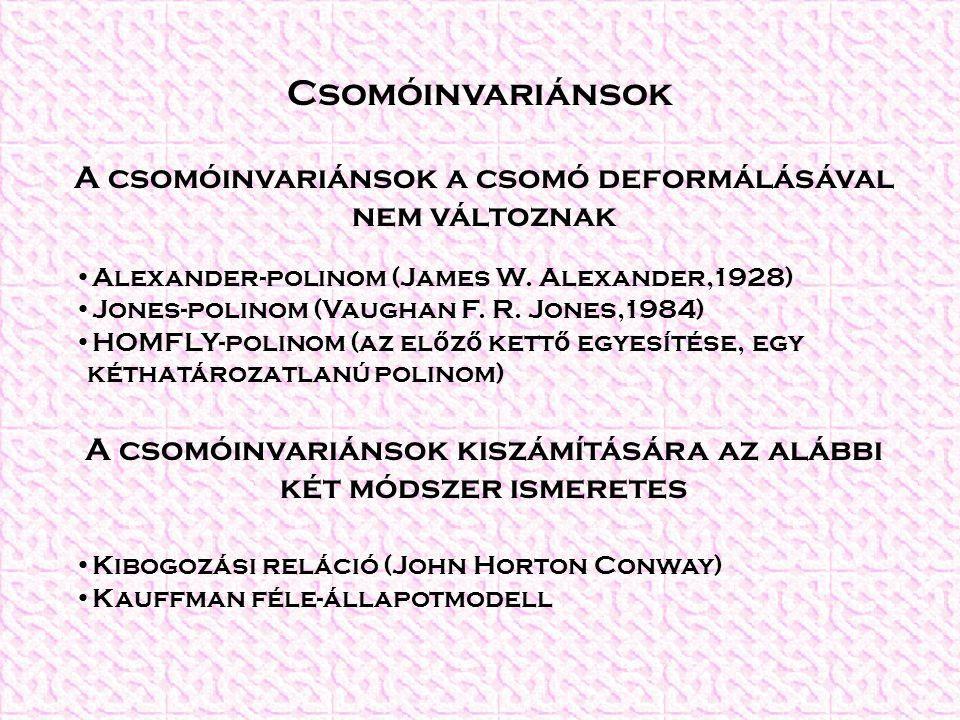 Csomóinvariánsok A csomóinvariánsok a csomó deformálásával nem változnak Alexander-polinom (James W.