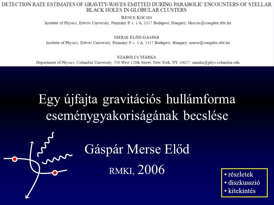 Egy újfajta gravitációs hullámforma eseménygyakoriságának becslése Gáspár Merse Előd RMKI, 2006 részletek diszkusszió kitekintés