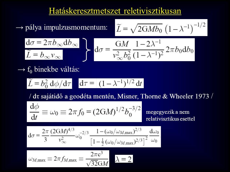 → pálya impulzusmomentum: Hatáskeresztmetszet reletivisztikusan → f 0 binekbe váltás: / dτ sajátidő a geodéta mentén, Misner, Thorne & Wheeler 1973 / megegyezik a nem relativisztikus esettel