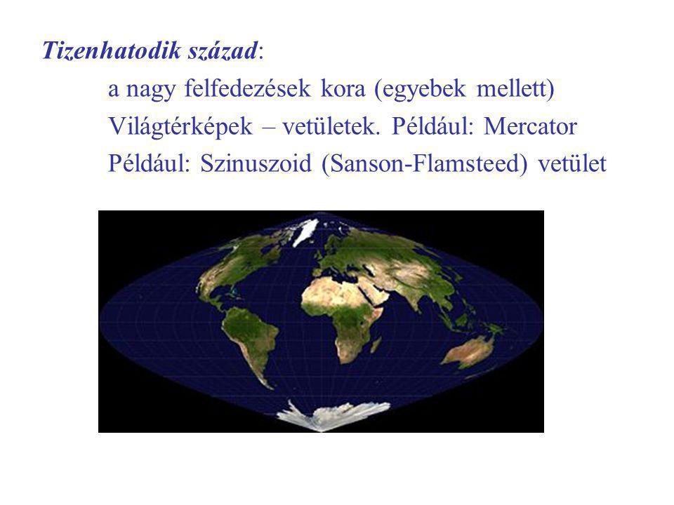 Tizenhatodik század: a nagy felfedezések kora (egyebek mellett) Világtérképek – vetületek.