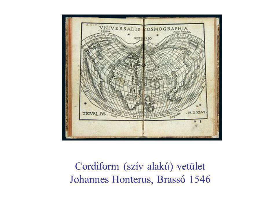 Cordiform (szív alakú) vetület Johannes Honterus, Brassó 1546