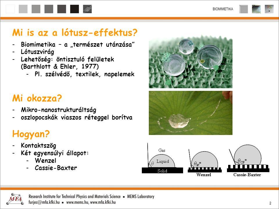 """2 BIOMIMETIKA Mi is az a lótusz-effektus? -Biomimetika – a """"természet utánzása"""" -Lótuszvirág -Lehetőség: öntisztuló felületek (Barthlott & Ehler, 1977"""