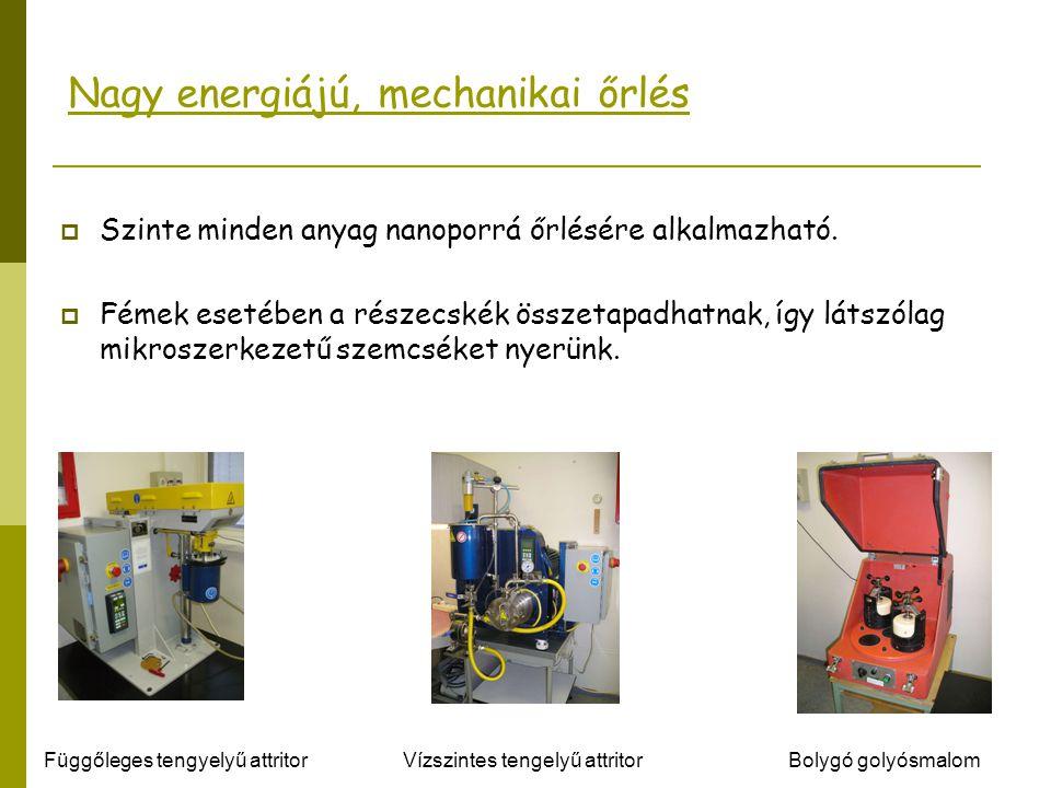 Nagy energiájú, mechanikai őrlés  Szinte minden anyag nanoporrá őrlésére alkalmazható.  Fémek esetében a részecskék összetapadhatnak, így látszólag