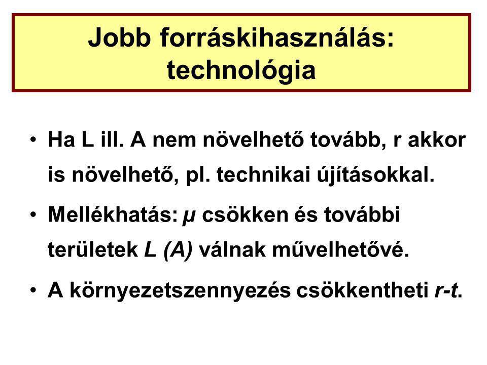Jobb forráskihasználás: technológia Ha L ill.A nem növelhető tovább, r akkor is növelhető, pl.