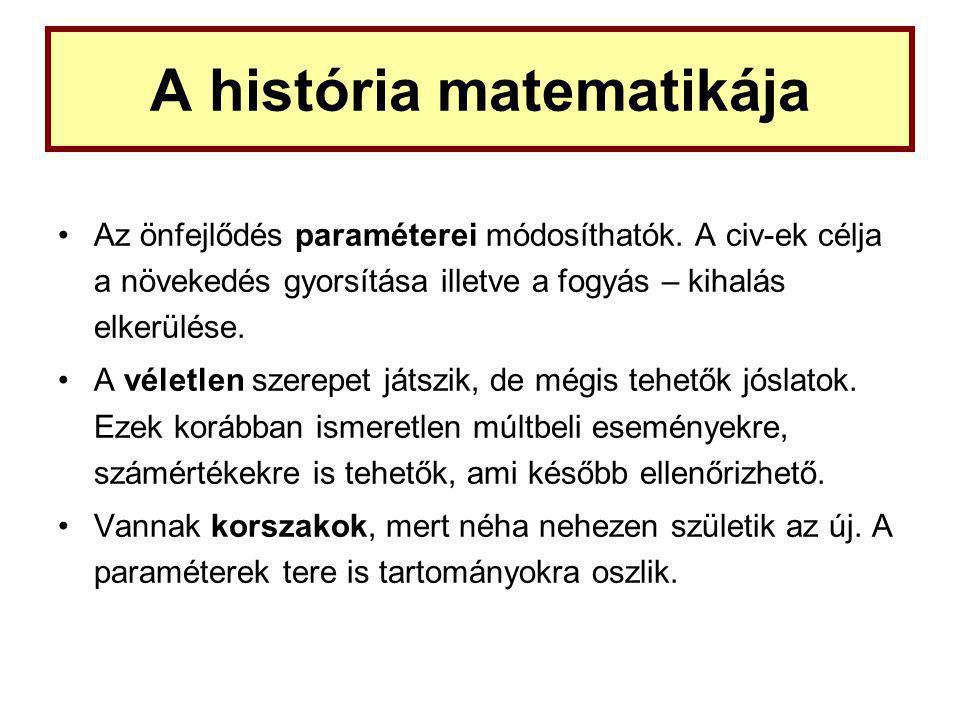 A história matematikája Az önfejlődés paraméterei módosíthatók.