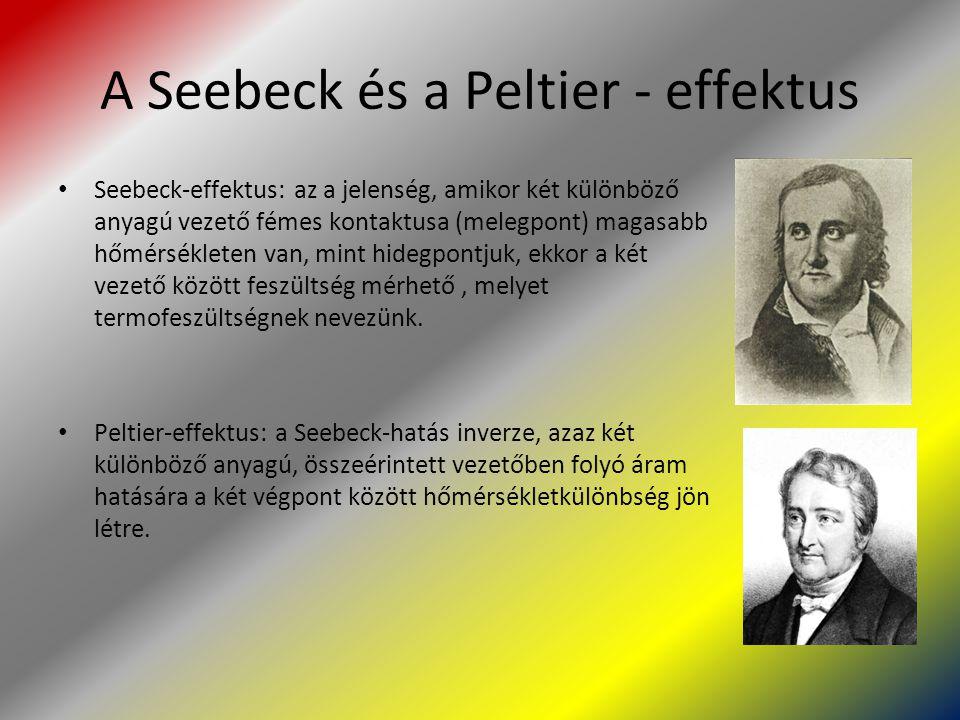 A Seebeck és a Peltier - effektus Seebeck-effektus: az a jelenség, amikor két különböző anyagú vezető fémes kontaktusa (melegpont) magasabb hőmérsékle