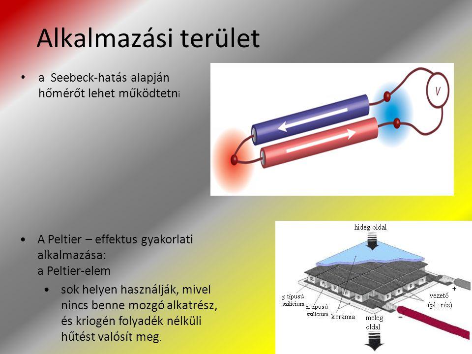 Alkalmazási terület a Seebeck-hatás alapján hőmérőt lehet működtetn i A Peltier – effektus gyakorlati alkalmazása: a Peltier-elem sok helyen használjá