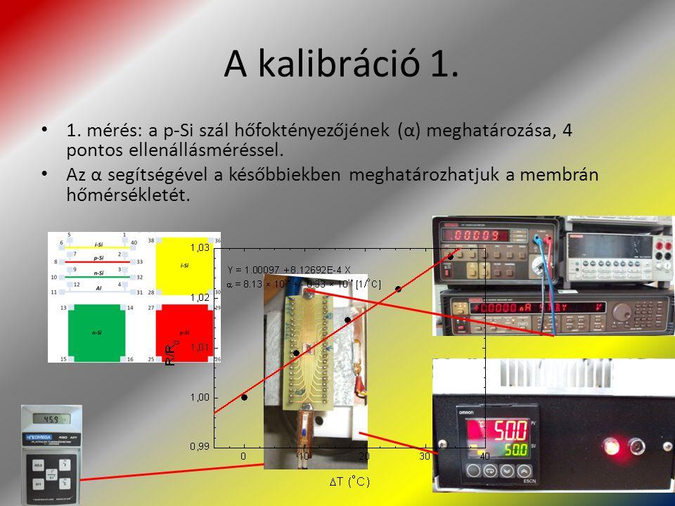 A kalibráció 1. 1. mérés: a p-Si szál hőfoktényezőjének (α) meghatározása, 4 pontos ellenállásméréssel. Az α segítségével a későbbiekben meghatározhat