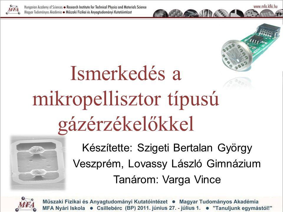 A makropellisztortól a mikropellisztorig Porózus Al 2 O 3 mátrixban diszpergált finomszemcsés Pt- katalizátor Pt fűtőszál 100  m 100 μm MEMS- technológia