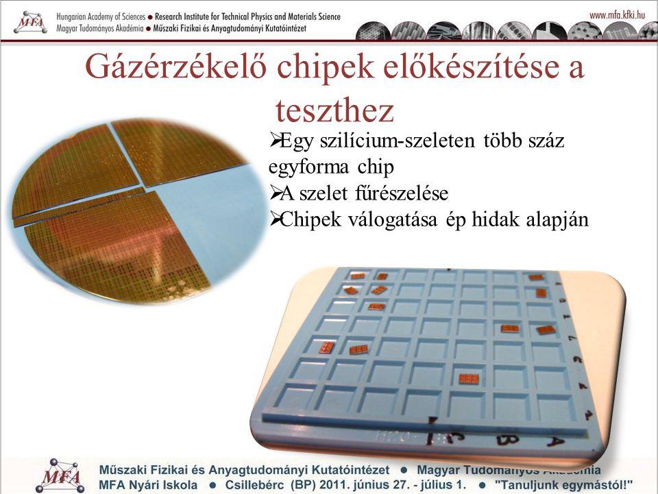 Gázérzékelő chipek előkészítése a teszthez  Egy szilícium-szeleten több száz egyforma chip  A szelet fűrészelése  Chipek válogatása ép hidak alapjá