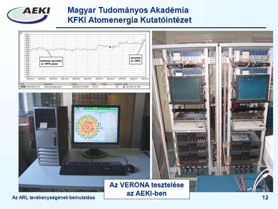Magyar Tudományos Akadémia KFKI Atomenergia Kutatóintézet 12 Az VERONA tesztelése az AEKI-ben Az ARL tevékenységének bemutatása