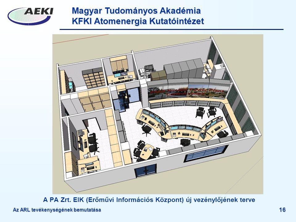 Magyar Tudományos Akadémia KFKI Atomenergia Kutatóintézet Az ARL tevékenységének bemutatása 16 A PA Zrt. EIK (Erőművi Információs Központ) új vezénylő