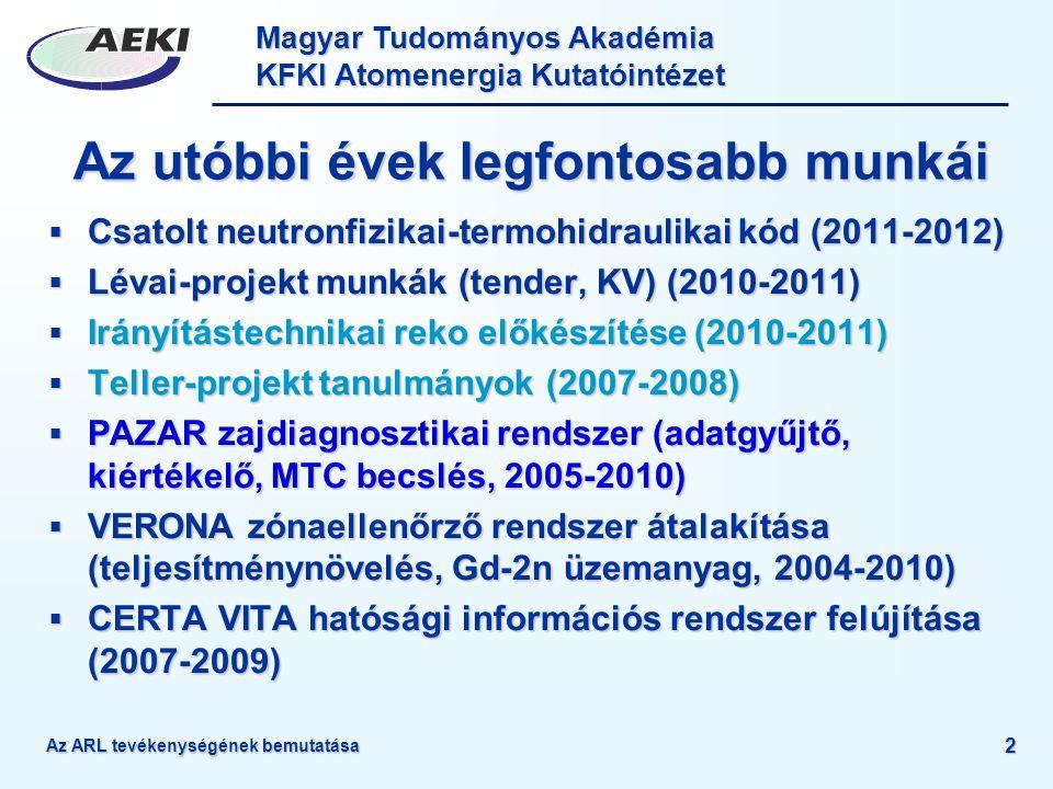 Magyar Tudományos Akadémia KFKI Atomenergia Kutatóintézet Az ARL tevékenységének bemutatása 2 Az utóbbi évek legfontosabb munkái  Csatolt neutronfizi