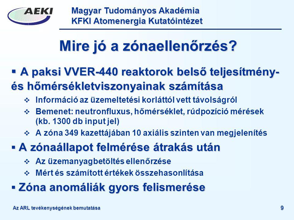 Magyar Tudományos Akadémia KFKI Atomenergia Kutatóintézet 9 Mire jó a zónaellenőrzés?  A paksi VVER-440 reaktorok belső teljesítmény- és hőmérsékletv