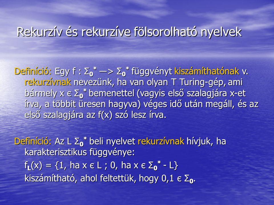 Rekurzív és rekurzíve fölsorolható nyelvek Definíció: Egy f : Σ 0 * ―> Σ 0 * függvényt kiszámíthatónak v.