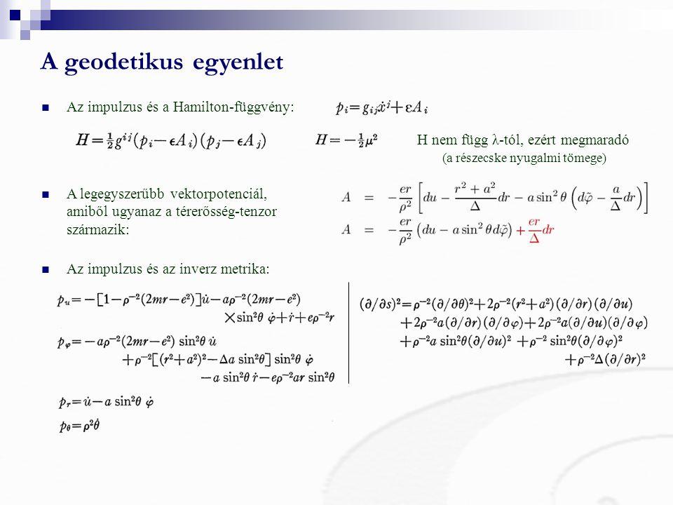 A geodetikus egyenlet Az impulzus és a Hamilton-függvény: H nem függ λ-tól, ezért megmaradó (a részecske nyugalmi tömege) A legegyszerűbb vektorpotenciál, amiből ugyanaz a térerősség-tenzor származik: Az impulzus és az inverz metrika: