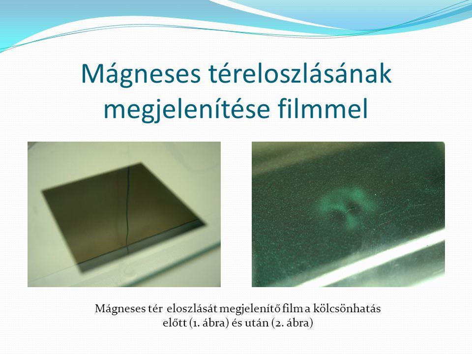 Mágneses téreloszlásának megjelenítése filmmel Mágneses tér eloszlását megjelenítő film a kölcsönhatás előtt (1. ábra) és után (2. ábra)