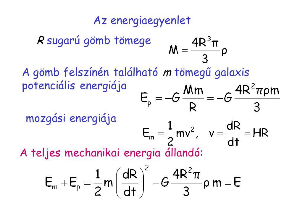 Az energiaegyenlet R sugarú gömb tömege A gömb felszínén található m tömegű galaxis potenciális energiája mozgási energiája A teljes mechanikai energia állandó: