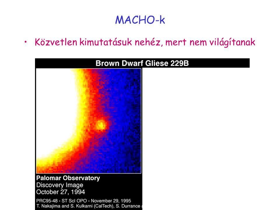 MACHO-k Közvetlen kimutatásuk nehéz, mert nem világítanak