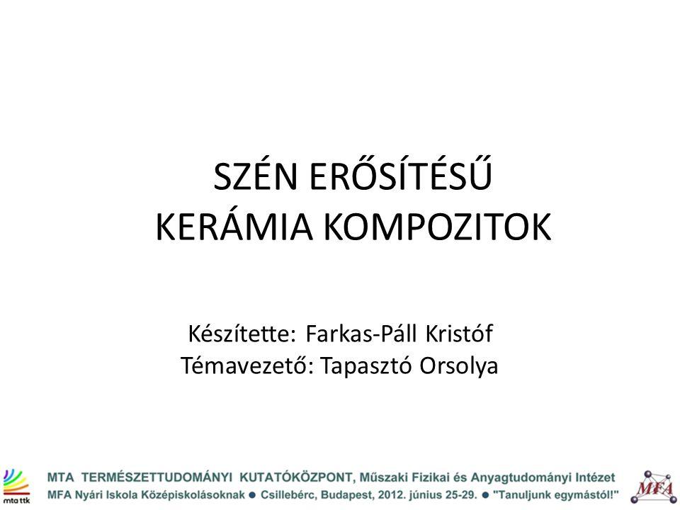 SZÉN ERŐSÍTÉSŰ KERÁMIA KOMPOZITOK Készítette: Farkas-Páll Kristóf Témavezető: Tapasztó Orsolya