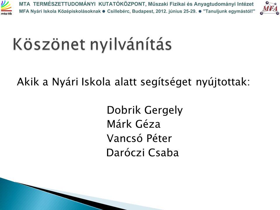 Akik a Nyári Iskola alatt segítséget nyújtottak: Dobrik Gergely Márk Géza Vancsó Péter Daróczi Csaba
