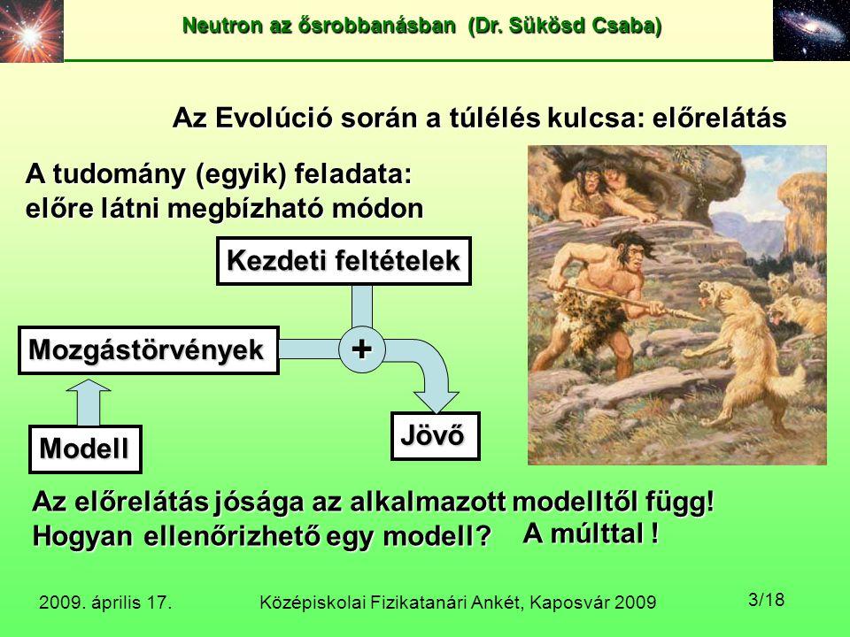 Középiskolai Fizikatanári Ankét, Kaposvár 2009 Neutron az ősrobbanásban (Dr. Sükösd Csaba) 2009. április 17. 3/18 Az Evolúció során a túlélés kulcsa: