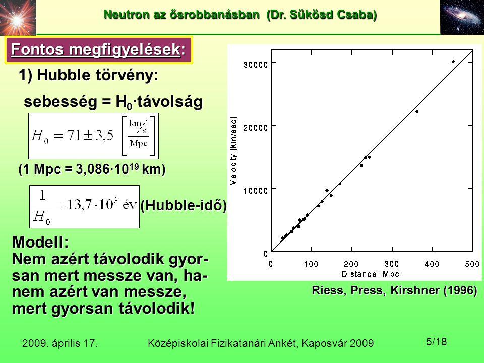Középiskolai Fizikatanári Ankét, Kaposvár 2009 Neutron az ősrobbanásban (Dr. Sükösd Csaba) 2009. április 17. 5/18 Fontos megfigyelések: 1) Hubble törv