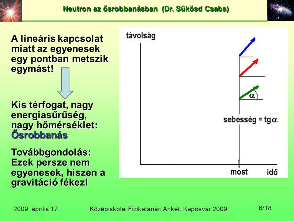 Középiskolai Fizikatanári Ankét, Kaposvár 2009 Neutron az ősrobbanásban (Dr. Sükösd Csaba) 2009. április 17. 6/18 A lineáris kapcsolat miatt az egyene