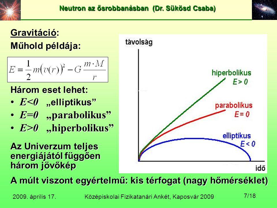 Középiskolai Fizikatanári Ankét, Kaposvár 2009 Neutron az ősrobbanásban (Dr. Sükösd Csaba) 2009. április 17. 7/18 Műhold példája: Három eset lehet: E<