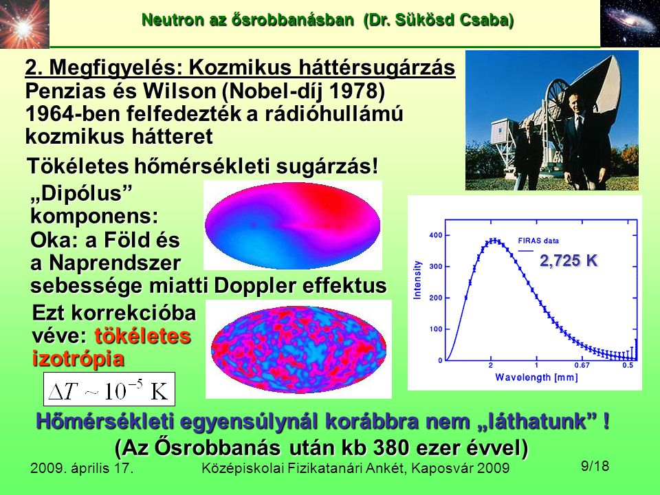 Középiskolai Fizikatanári Ankét, Kaposvár 2009 Neutron az ősrobbanásban (Dr. Sükösd Csaba) 2009. április 17. 9/18 2. Megfigyelés: Kozmikus háttérsugár