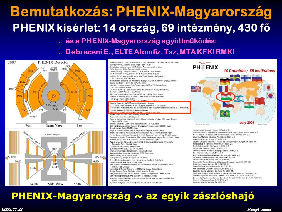 2008.II.22.Csörg ő Tamás Bemutatkozás: PHENIX-Magyarország PHENIX kísérlet: 14 ország, 69 intézmény, 430 f ő ● és a PHENIX-Magyarország együttm ű ködés: ● Debreceni E., ELTE Atomfiz.